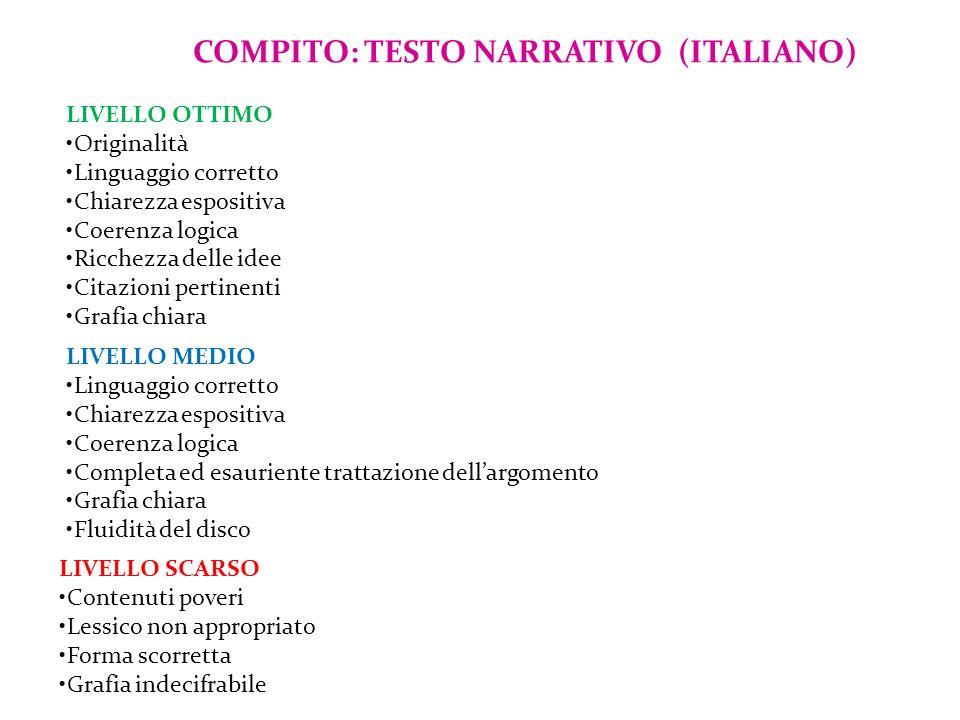 COMPITO: TESTO NARRATIVO (ITALIANO)