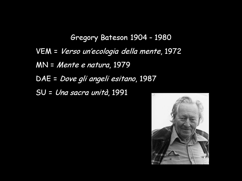 Gregory Bateson 1904 - 1980 VEM = Verso un'ecologia della mente, 1972. MN = Mente e natura, 1979. DAE = Dove gli angeli esitano, 1987.