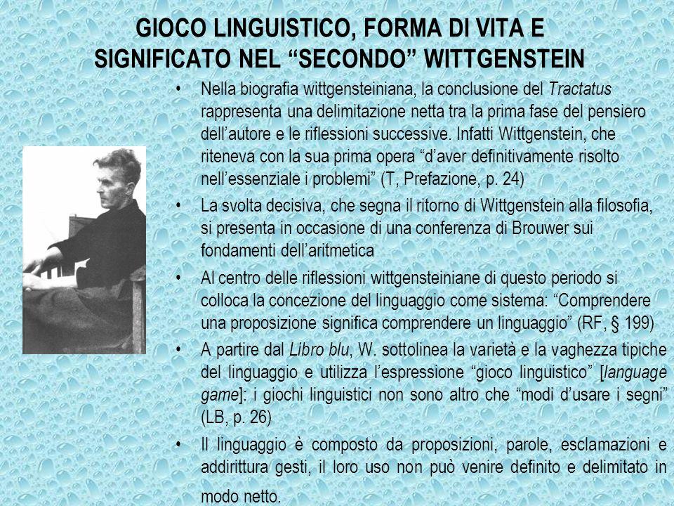 GIOCO LINGUISTICO, FORMA DI VITA E SIGNIFICATO NEL SECONDO WITTGENSTEIN