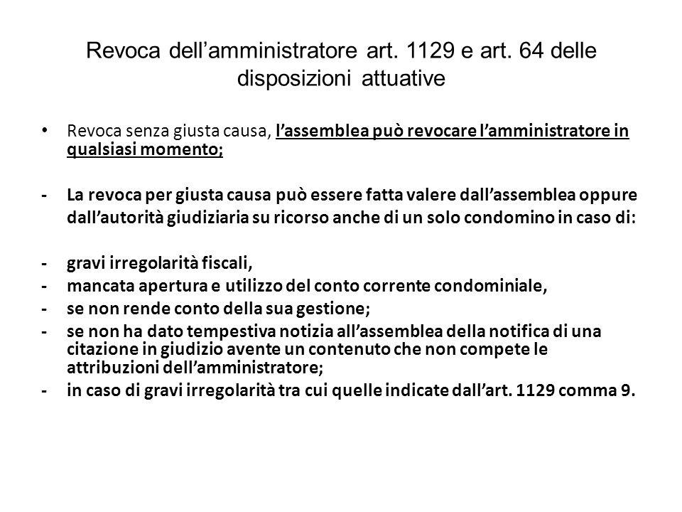 Revoca dell'amministratore art. 1129 e art