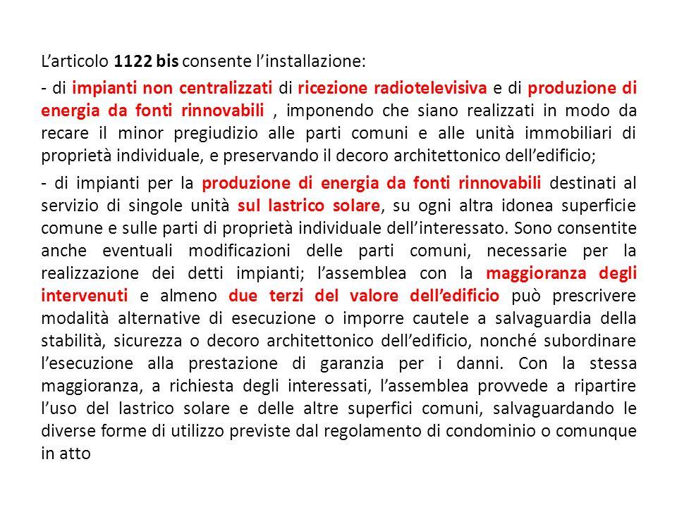 L'articolo 1122 bis consente l'installazione: