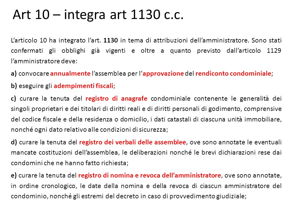 Art 10 – integra art 1130 c.c.