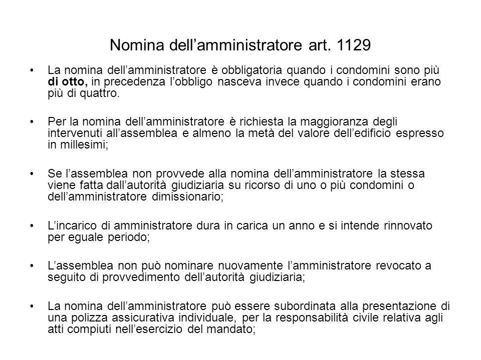 Nomina dell'amministratore art. 1129