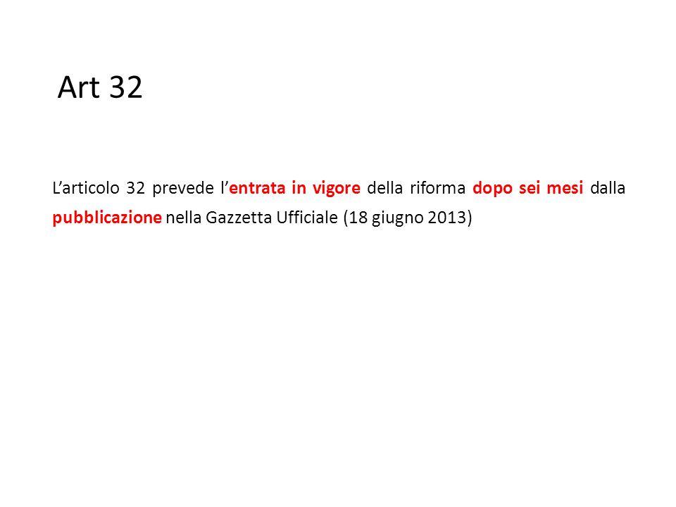 Art 32 L'articolo 32 prevede l'entrata in vigore della riforma dopo sei mesi dalla pubblicazione nella Gazzetta Ufficiale (18 giugno 2013)