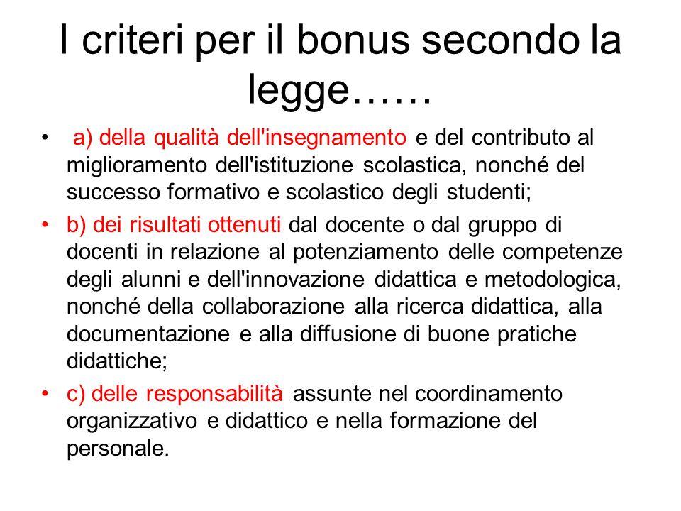 I criteri per il bonus secondo la legge……