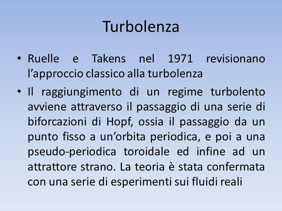 Turbolenza Ruelle e Takens nel 1971 revisionano l'approccio classico alla turbolenza.