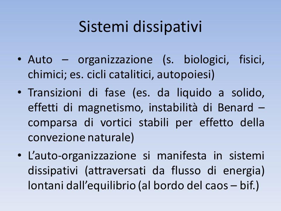 Sistemi dissipativi Auto – organizzazione (s. biologici, fisici, chimici; es. cicli catalitici, autopoiesi)