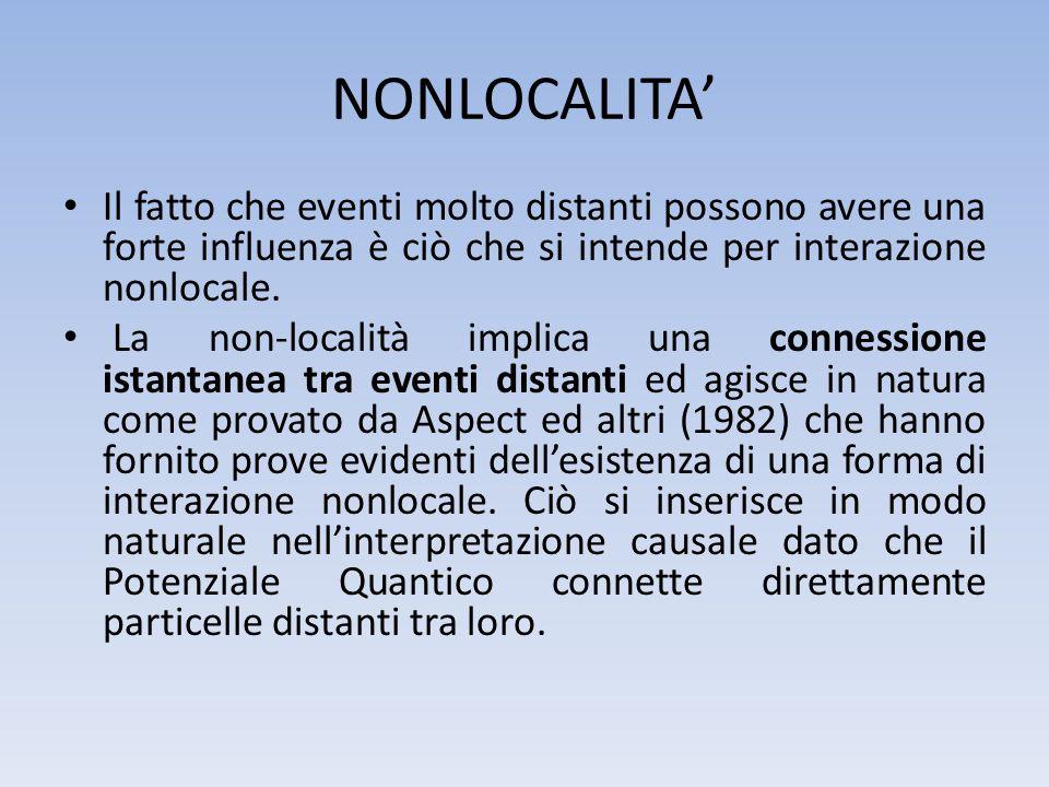 NONLOCALITA' Il fatto che eventi molto distanti possono avere una forte influenza è ciò che si intende per interazione nonlocale.