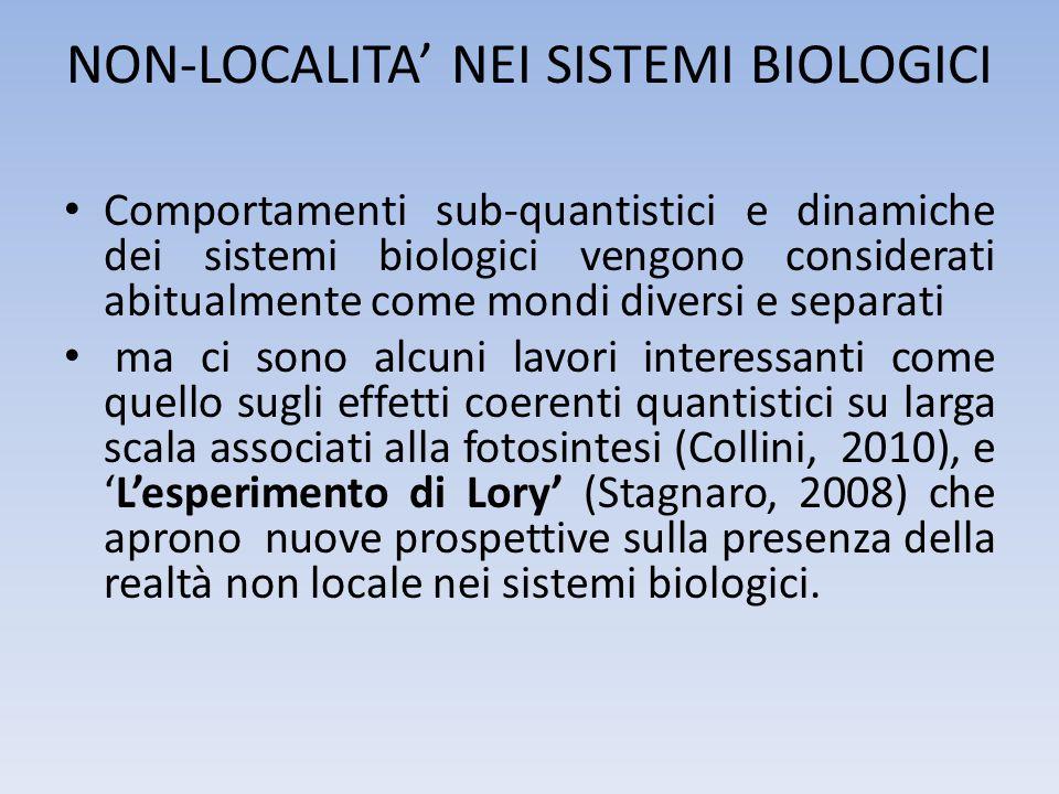 NON-LOCALITA' NEI SISTEMI BIOLOGICI