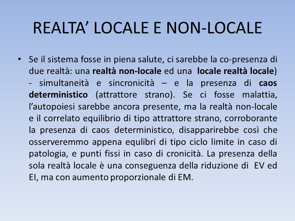 REALTA' LOCALE E NON-LOCALE