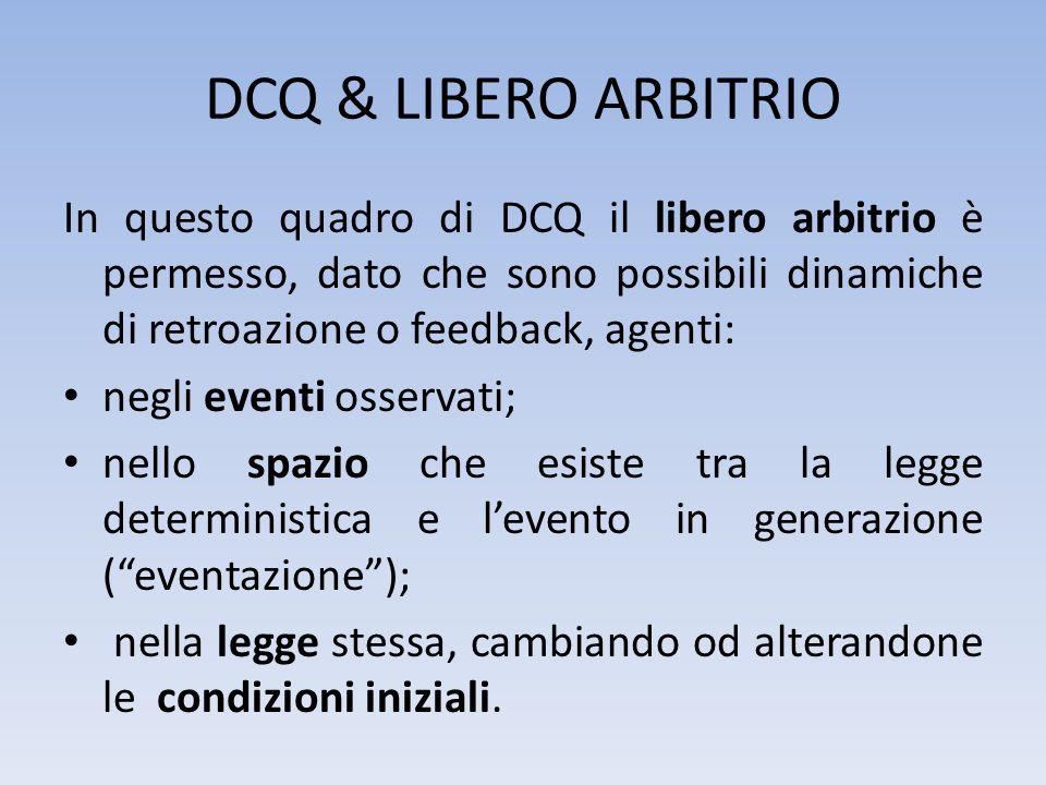 DCQ & LIBERO ARBITRIOIn questo quadro di DCQ il libero arbitrio è permesso, dato che sono possibili dinamiche di retroazione o feedback, agenti:
