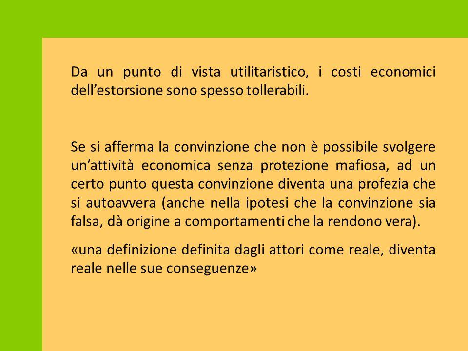 Da un punto di vista utilitaristico, i costi economici dell'estorsione sono spesso tollerabili.