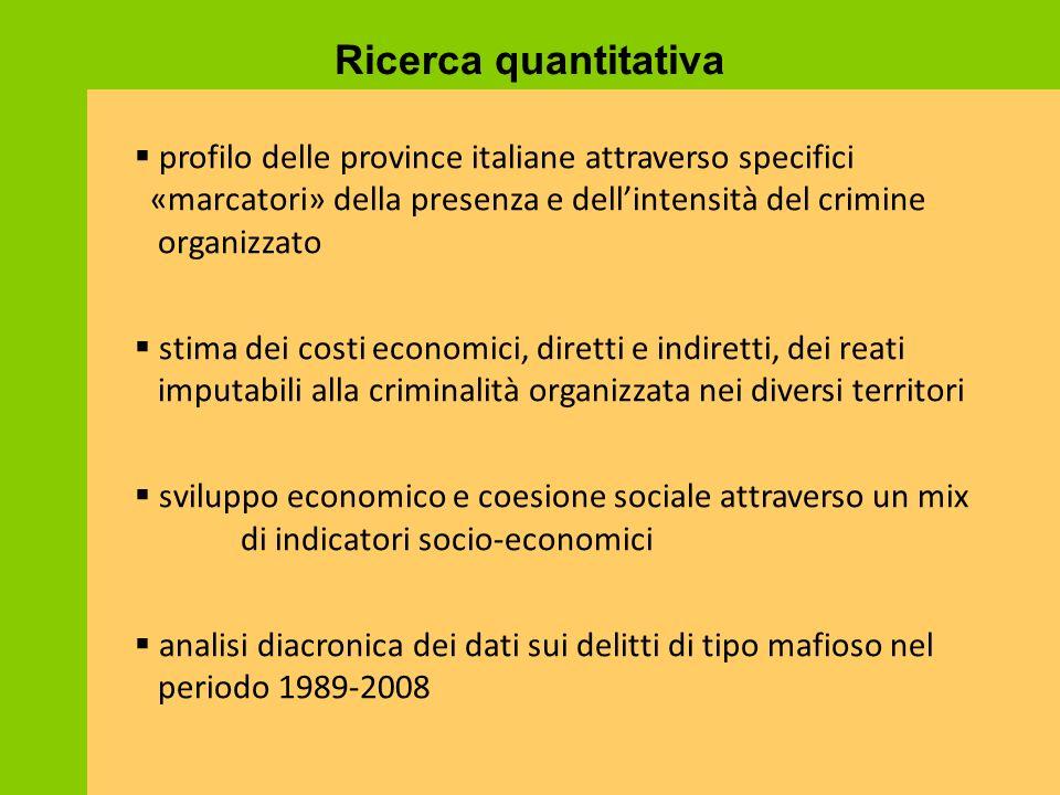 Ricerca quantitativa profilo delle province italiane attraverso specifici «marcatori» della presenza e dell'intensità del crimine organizzato.