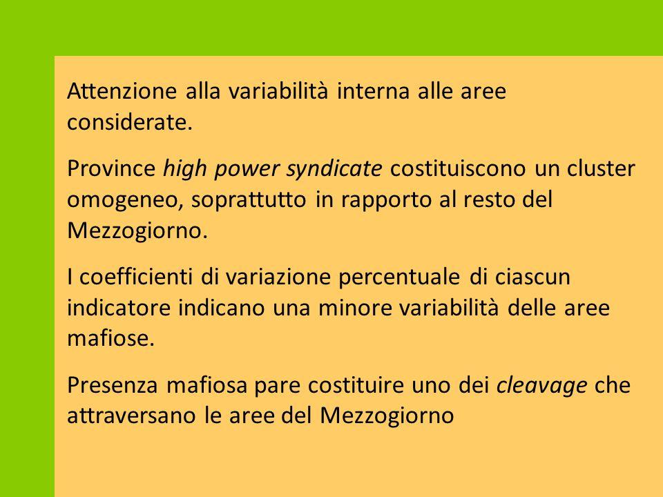 Attenzione alla variabilità interna alle aree considerate.