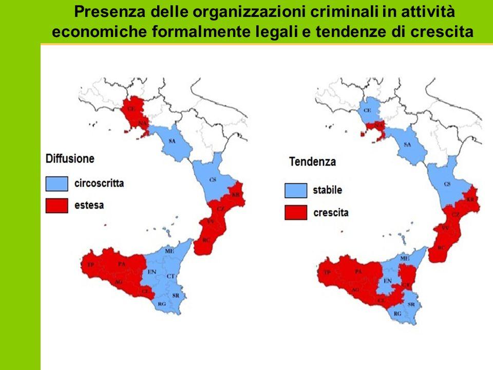 Presenza delle organizzazioni criminali in attività economiche formalmente legali e tendenze di crescita