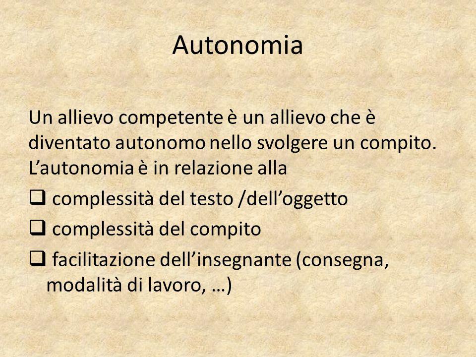 Autonomia Un allievo competente è un allievo che è diventato autonomo nello svolgere un compito. L'autonomia è in relazione alla.