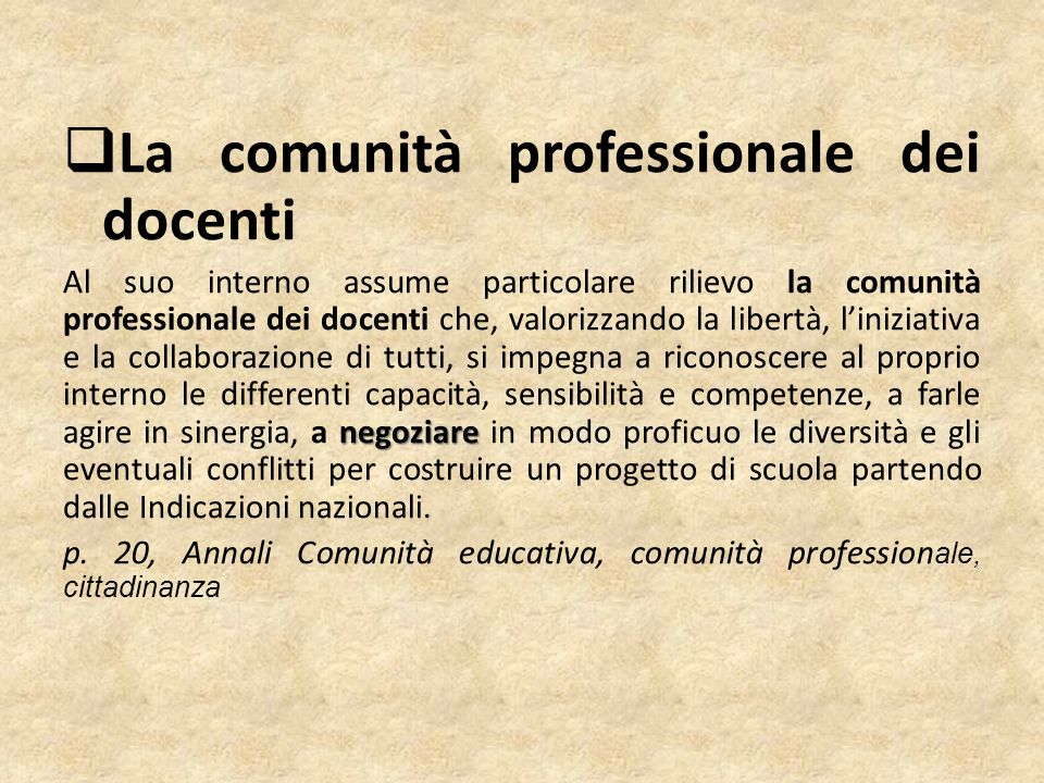 La comunità professionale dei docenti