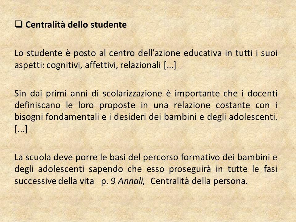 Centralità dello studente