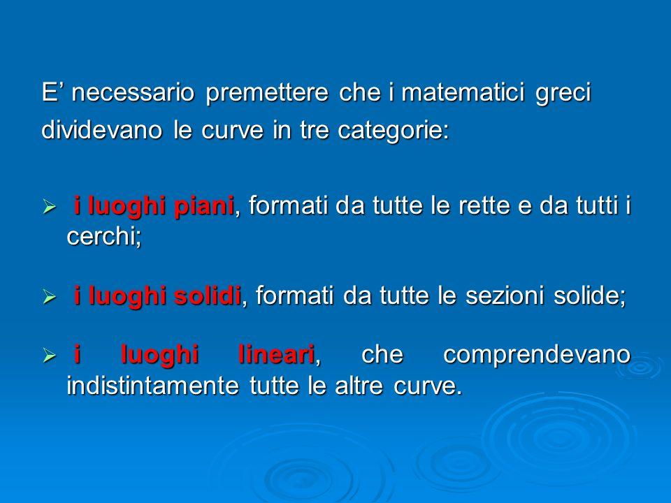 E' necessario premettere che i matematici greci