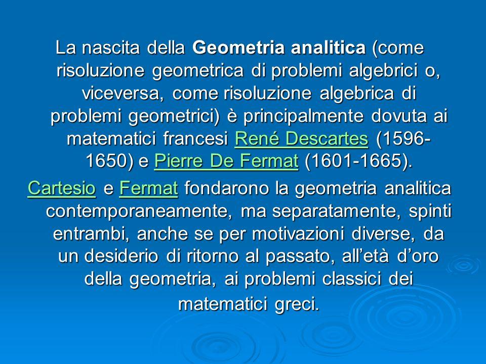 La nascita della Geometria analitica (come risoluzione geometrica di problemi algebrici o, viceversa, come risoluzione algebrica di problemi geometrici) è principalmente dovuta ai matematici francesi René Descartes (1596-1650) e Pierre De Fermat (1601-1665).