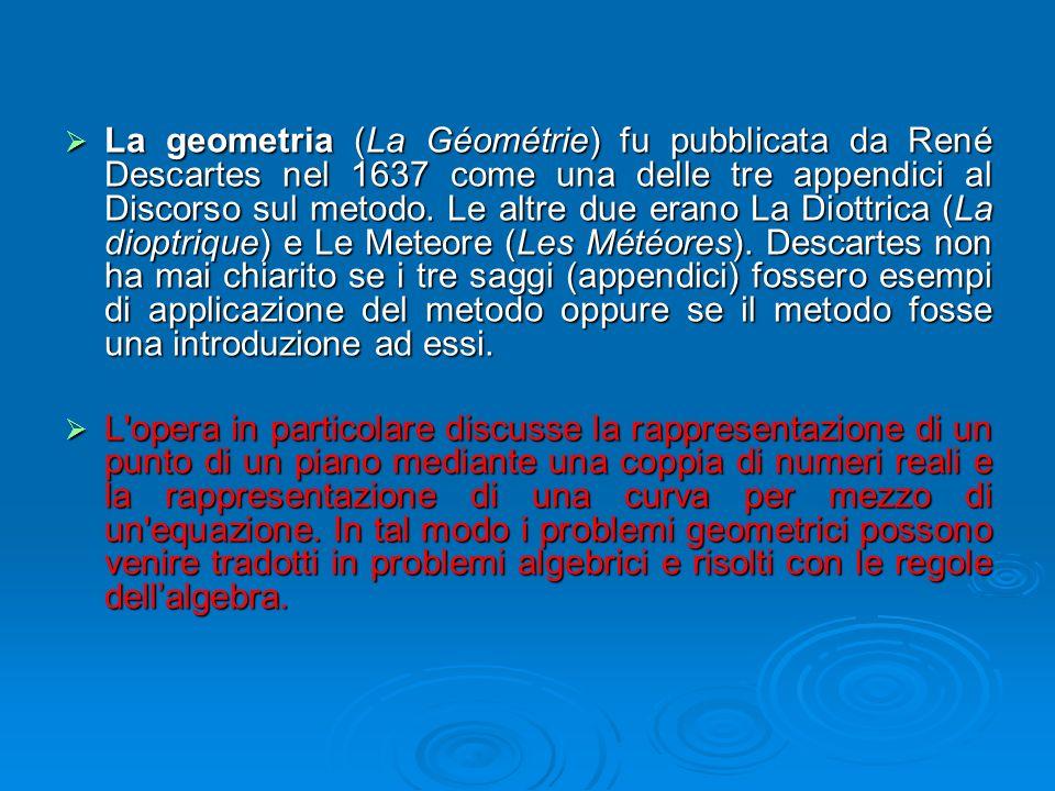 La geometria (La Géométrie) fu pubblicata da René Descartes nel 1637 come una delle tre appendici al Discorso sul metodo. Le altre due erano La Diottrica (La dioptrique) e Le Meteore (Les Météores). Descartes non ha mai chiarito se i tre saggi (appendici) fossero esempi di applicazione del metodo oppure se il metodo fosse una introduzione ad essi.