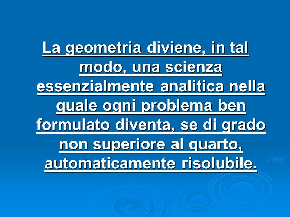 La geometria diviene, in tal modo, una scienza essenzialmente analitica nella quale ogni problema ben formulato diventa, se di grado non superiore al quarto, automaticamente risolubile.