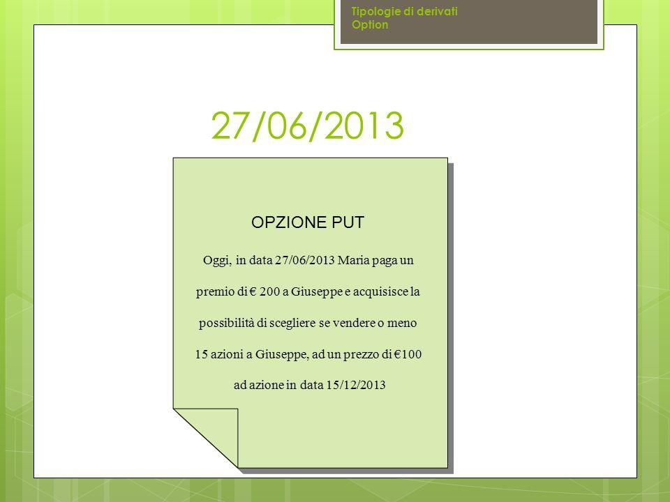 27/06/2013 OPZIONE PUT Oggi, in data 27/06/2013 Maria paga un