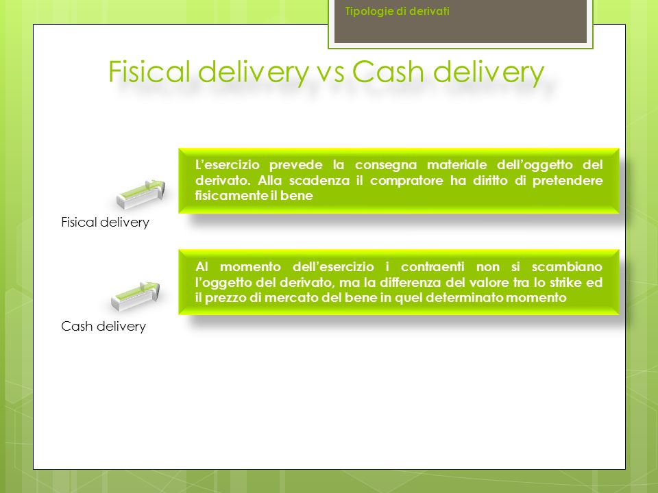 Fisical delivery vs Cash delivery