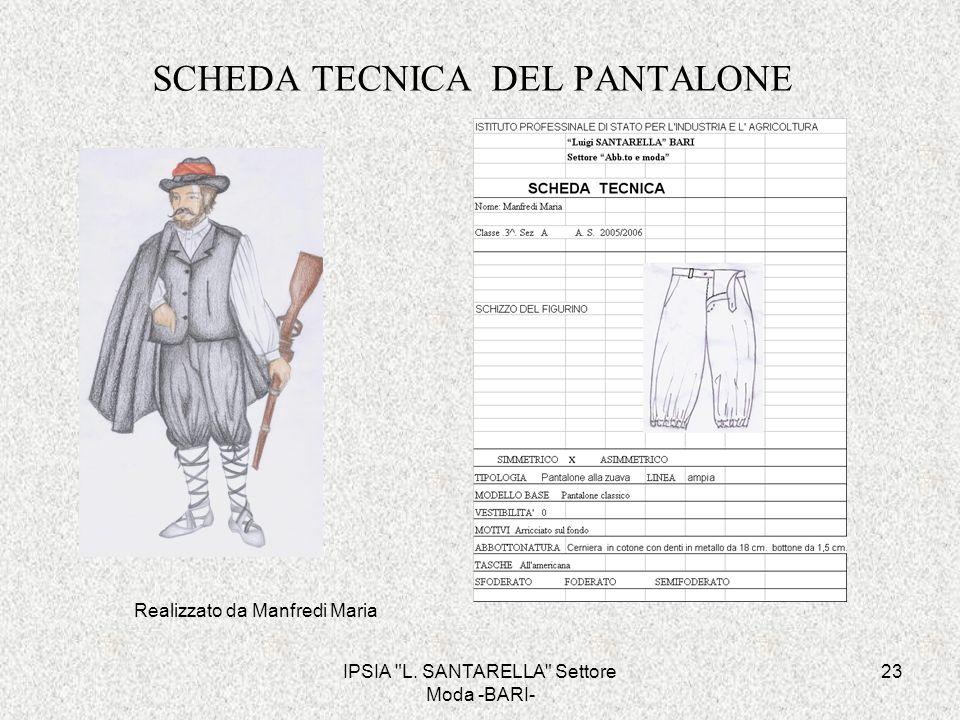 SCHEDA TECNICA DEL PANTALONE