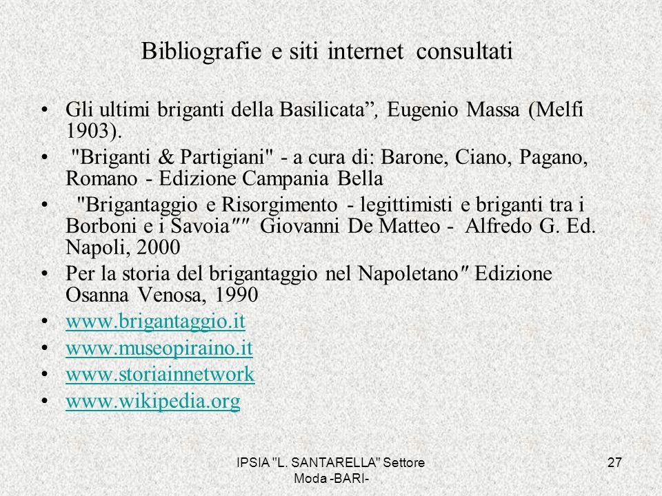 Bibliografie e siti internet consultati