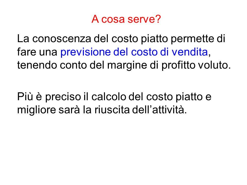 A cosa serve La conoscenza del costo piatto permette di fare una previsione del costo di vendita, tenendo conto del margine di profitto voluto.