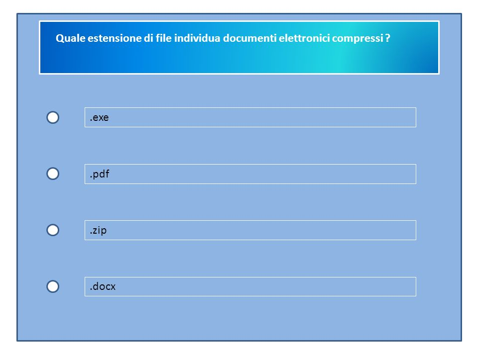 Quale estensione di file individua documenti elettronici compressi