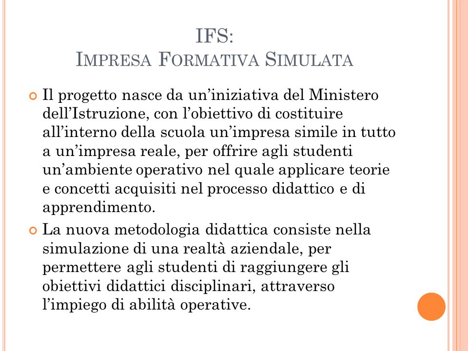 IFS: Impresa Formativa Simulata