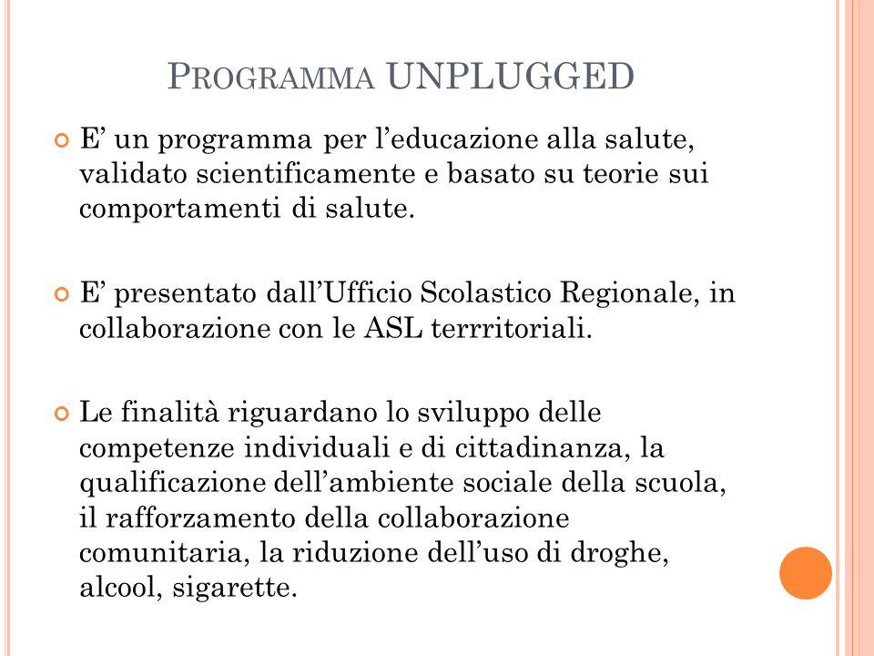 Programma UNPLUGGED E' un programma per l'educazione alla salute, validato scientificamente e basato su teorie sui comportamenti di salute.