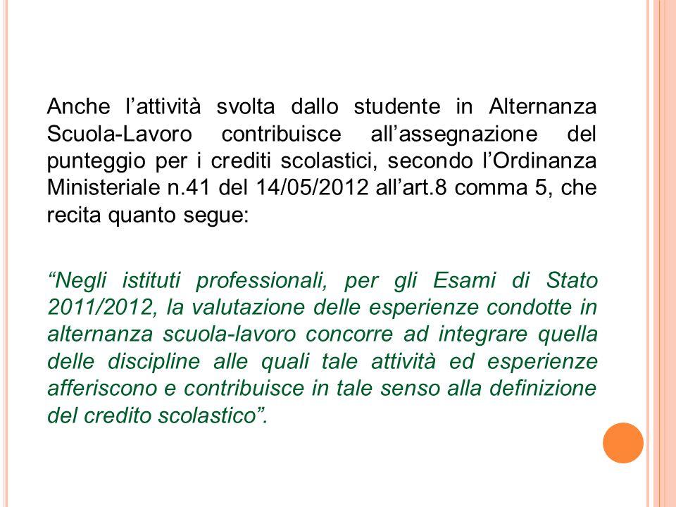 Anche l'attività svolta dallo studente in Alternanza Scuola-Lavoro contribuisce all'assegnazione del punteggio per i crediti scolastici, secondo l'Ordinanza Ministeriale n.41 del 14/05/2012 all'art.8 comma 5, che recita quanto segue: