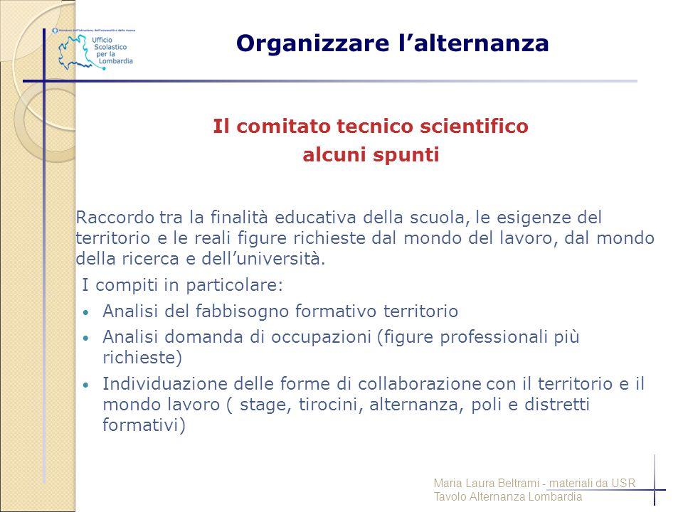 Organizzare l'alternanza Il comitato tecnico scientifico