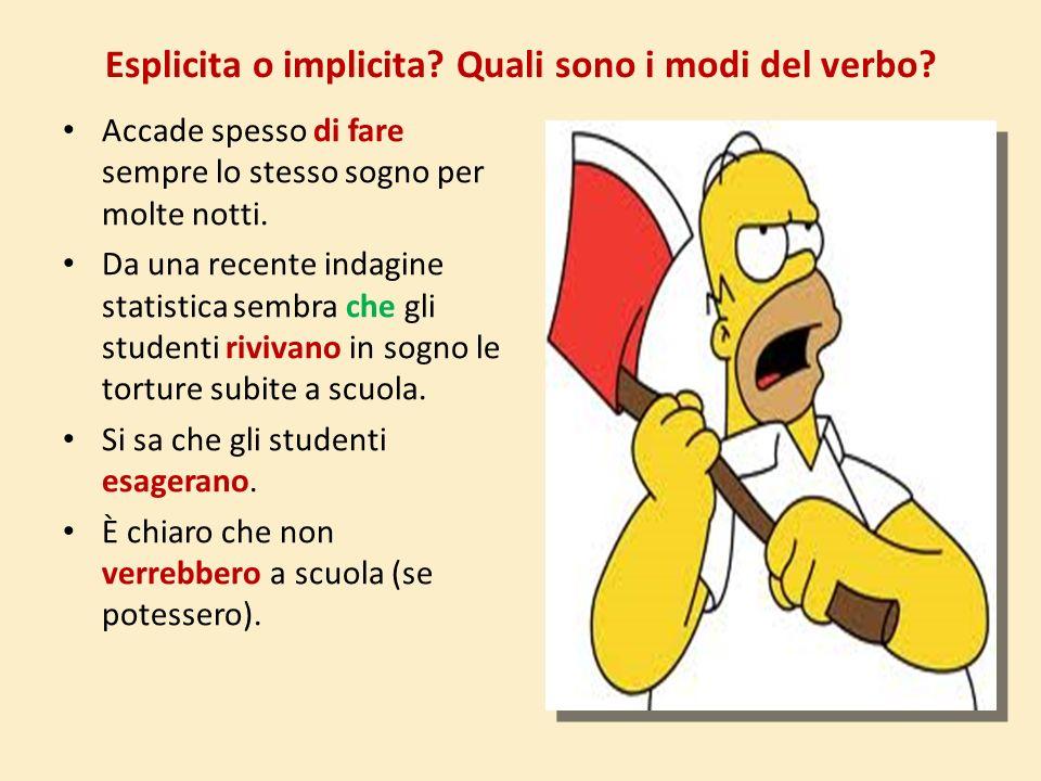 Esplicita o implicita Quali sono i modi del verbo