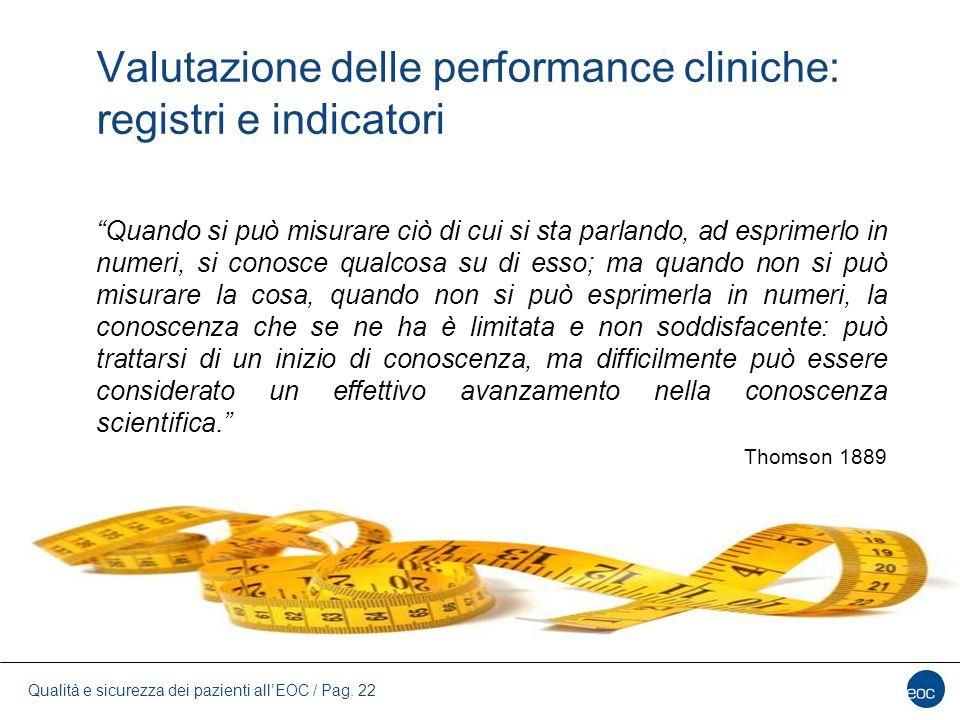 Valutazione delle performance cliniche: registri e indicatori