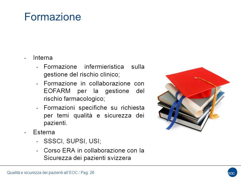Formazione Interna. Formazione infermieristica sulla gestione del rischio clinico;