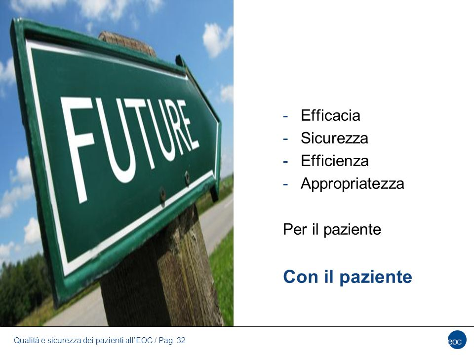Con il paziente Efficacia Sicurezza Efficienza Appropriatezza