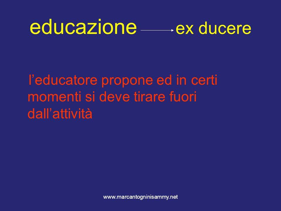 educazione ex ducere l'educatore propone ed in certi momenti si deve tirare fuori dall'attività.