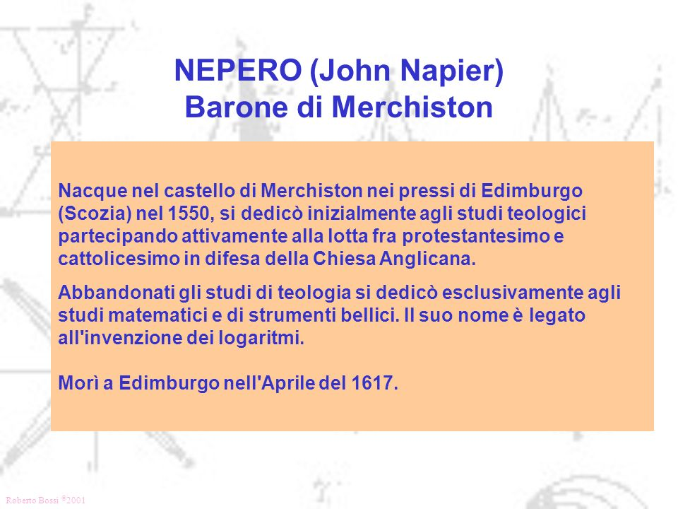 NEPERO (John Napier) Barone di Merchiston