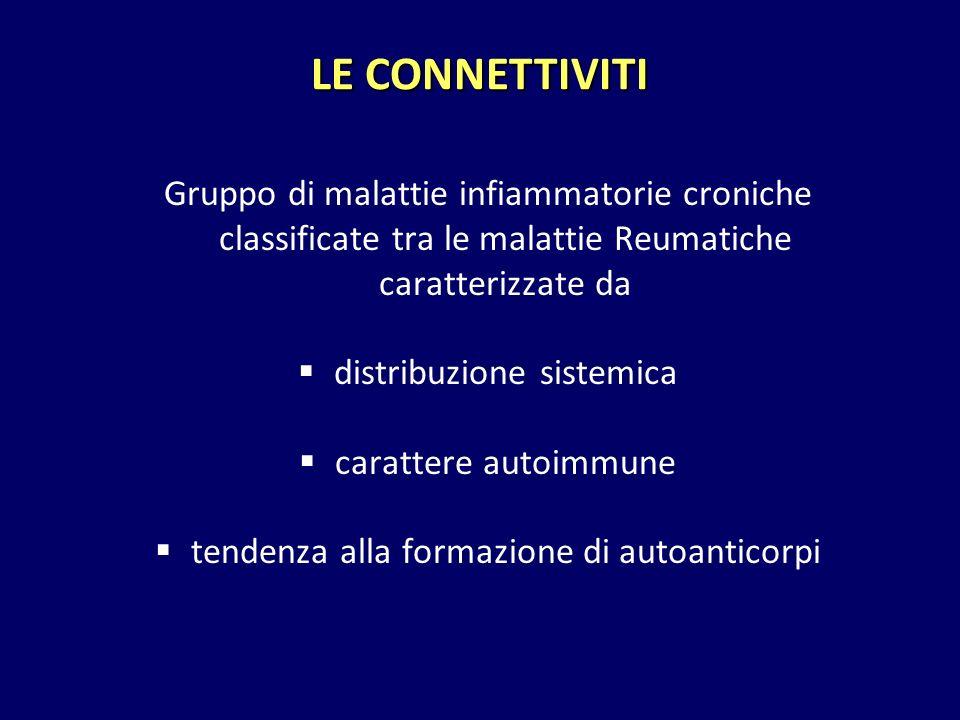 LE CONNETTIVITI Gruppo di malattie infiammatorie croniche classificate tra le malattie Reumatiche caratterizzate da.