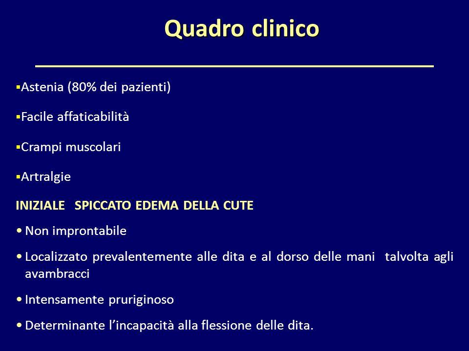 Quadro clinico Astenia (80% dei pazienti) Facile affaticabilità