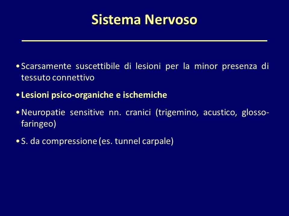Sistema Nervoso Scarsamente suscettibile di lesioni per la minor presenza di tessuto connettivo. Lesioni psico-organiche e ischemiche.