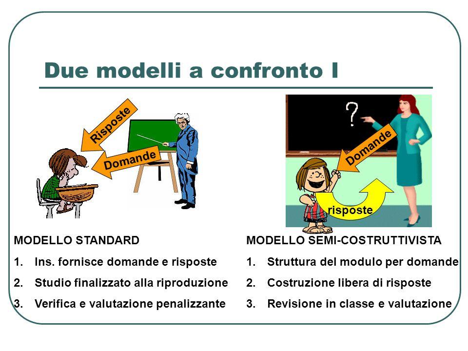Due modelli a confronto I