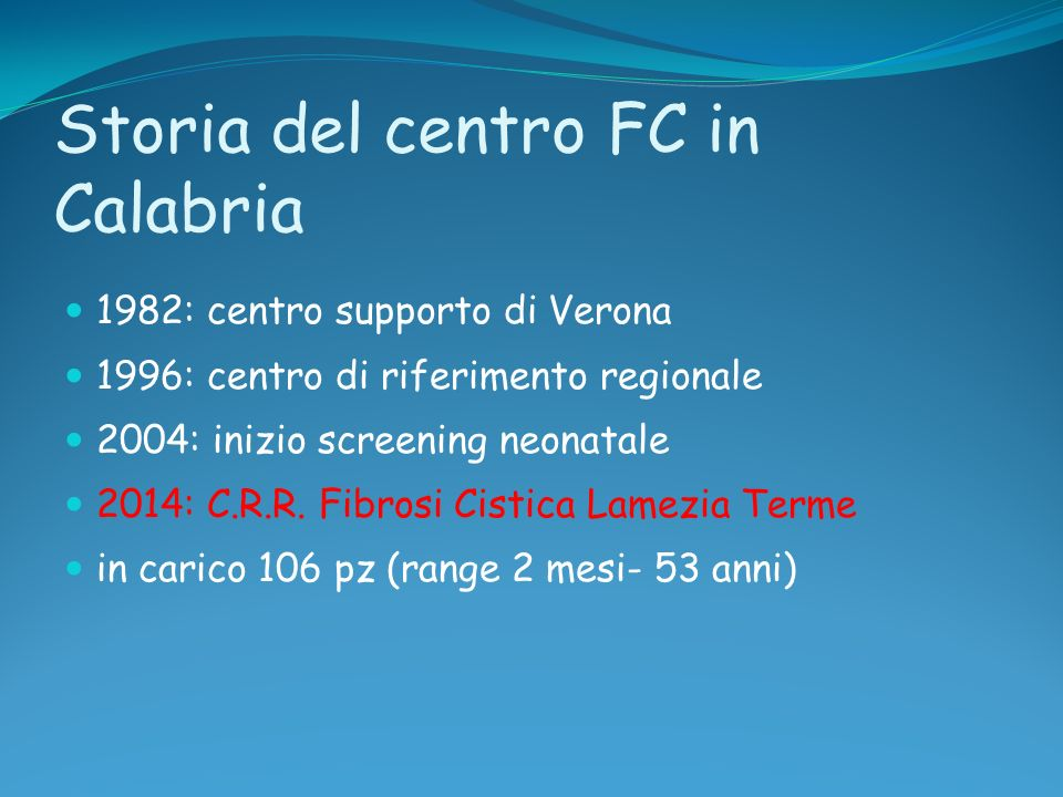 Storia del centro FC in Calabria