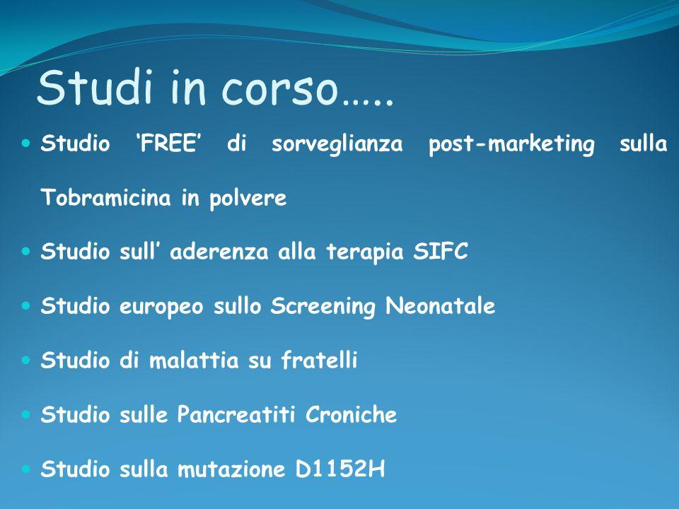 Studi in corso….. Studio 'FREE' di sorveglianza post-marketing sulla Tobramicina in polvere. Studio sull' aderenza alla terapia SIFC.