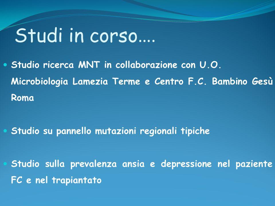 Studi in corso…. Studio ricerca MNT in collaborazione con U.O.