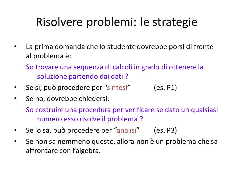 Risolvere problemi: le strategie